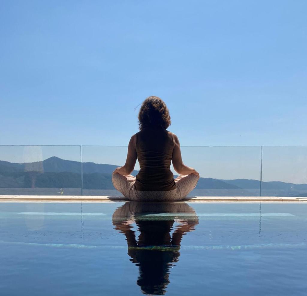 Meditation in front of water